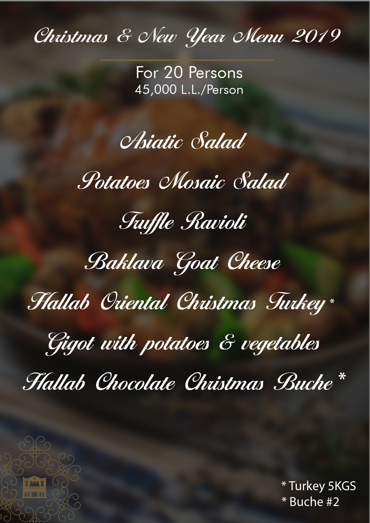 Christmas & New Year Menu 20 Prs